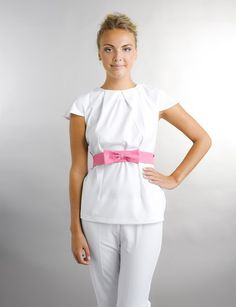 Fitted Tunic with beautiful detail to neckline and exaggerated puff sleeve for added glamour. Spa Uniform, Maid Uniform, Medical Uniforms, Blazers For Women, Dress Me Up, Diy Fashion, Scrubs, Peplum Dress, Dresses For Work