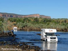 Gibb River Road, The Kimberly, Western Australia (September 2006) crossing the Pentacost River.  Note the snorkels on the campers.   We crossed in a Toyota Landcruiser 4x4.