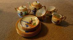 vintage Handpainted lusterware windmill scene tea set, 16 piece set serving 4