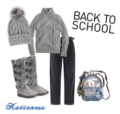 """""""Back to School"""" by katieness ❤ liked on Polyvore featuring J.Crew, Chanel, Muk Luks and Eugenia Kim"""