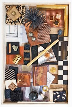 Mood board, materials board, textiles, brass, marble, copper, patterns | Kelly Wearstler's 7 Steps to Pulling Off Bold Color via @domainehome
