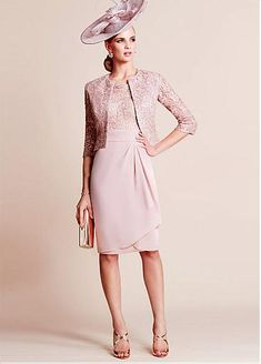 [124.99] Delicate Lace & Chiffon Scoop Neckline Knee-length Sheath Mother Of The Bride Dresses With Detachable Coat  - dressilyme.com
