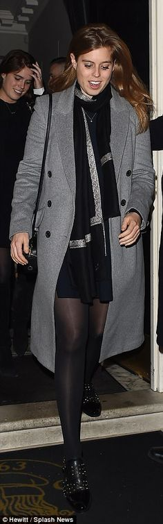 Beatrice was chic in shades of black and grey