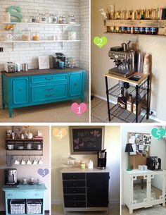 Coffee bar ideas for small-ish kitchens. I know right where it could go but I need to get electricity over there somehow.