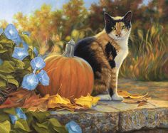 Cat Print featuring the painting Autumn by Lucie Bilodeau