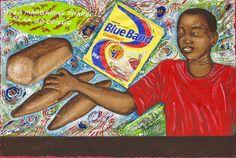 Papa Mfumu'Eto 1er - Série miniatures - Margarine blue band, 2014, acrylique sur toile, 24 x 35 cm