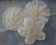 Antique Flower Headband, Newborn Headband, Baby Girl Headband, Flower Headband, Baby Headband, Wedding, Baptism