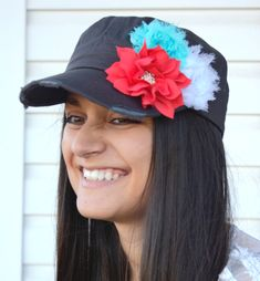 New to LaBellaRoseBoutique on Etsy: grey coral hat Womens Hat Flower Hat distressed hat Bling Hat Cadet Cap coral white blue baseball cap military hat gift for her womens cadet (24.99 USD)