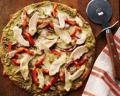 A healthy, lightened-up pizza that is perfect for those busy nights. Tortilla Pizza, Chicken Pizza, Pesto Chicken, Pizza Recipes, Chicken Recipes, Easy Recipes, Food Safety Tips, Whole Wheat Tortillas, Pesto Pizza