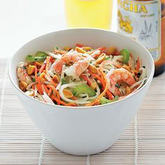 Thai-syle Jicama Salad  Crunchy green papaya is usually the main ingredient in this type of Thai salad, but it can be hard to find.  Surprisingly, jicama—a crisp, beige-skinned root—makes a great stand-in. Find it at well-stocked grocery stores and Latino markets. To serve as a main course, increase shrimp to 1 lb.