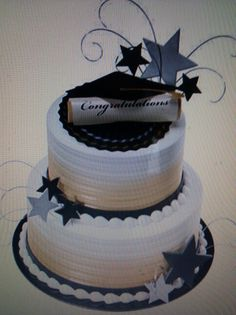 Graduation cake-replace the gold with silver Graduation Desserts, College Graduation Parties, Graduation Theme, Graduation Celebration, Graduation Decorations, Grad Parties, Celebration Cakes, Graduation Ideas, Pretty Cakes