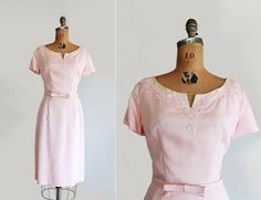 now available - 60s blush pink dress with beaded neckline