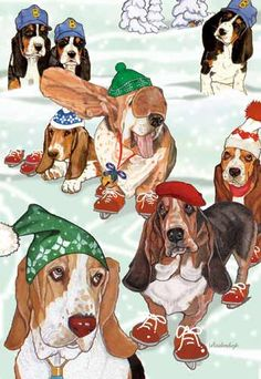 Basset Hound Christmas Cards Bassets On Ice $14.95