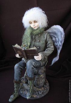 """Купить """" Притяжение земли"""" - авторская кукла, коллекционная кукла, единственный экземпляр, серый, ангел"""