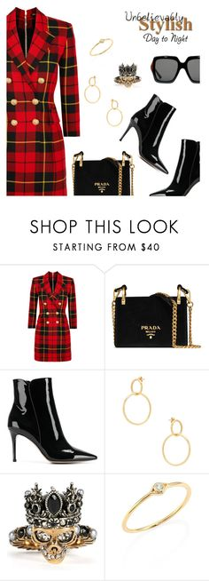 Outfit of the Day by dressedbyrose on Polyvore featuring Balmain, Gianvito Rossi, Prada, Alexander McQueen, Sydney Evan, Shashi, Gucci, ootd and polyvoreeditorial