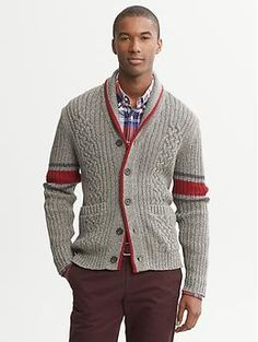 This sweater looks like a sock monkey! I want it! Cable-Knit Shawl-Collar Cardigan | Banana Republic