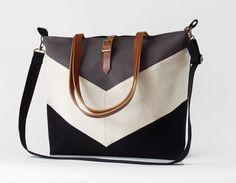 LARGE Black gray chevron tote / diaper bag / shoulder von BagyBags