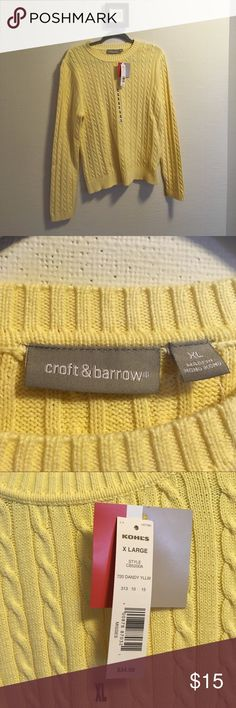 Preppy cable-knit sweater. Nwt. Dandy Yellow. Brand new.  100% cotton. croft & barrow Sweaters Crew & Scoop Necks