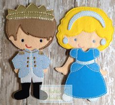 Someday My Prince Will Come: Felt Un Paper doll Prince and Cinderella Doll and Clothing Set