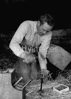 Tenney | Trainer and co-owner of Swaps, Meshach Tenney, hammering horseshoe, at Rex Ellsworth's ranch. Photo by George Silk//Time Life Pictures/Getty Images. (Jul 1, 1955)