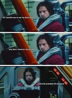 """Bucky could have killed everyone in this movie and I still would have been all """"aww Bucky! you fabulous man"""""""