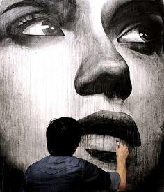 The Webby Award-winning arts magazine. Covering fine art, tattoo, graffiti, design, and cinema. 3d Street Art, Street Art Graffiti, Street Artists, Art Sculpture, Portrait Art, Portraits, Urban Art, Love Art, Art World