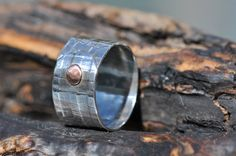 Sterling silver wide band ring. SRAJD 1320. $35.00, via Etsy.