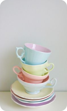 Love these pastel tea cups and saucers.