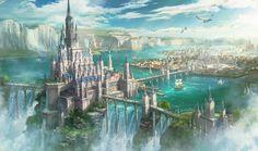 Fantasy City, Fantasy Castle, Fantasy Places, High Fantasy, Fantasy World, Fantasy Art Landscapes, Fantasy Landscape, Urban Landscape, Landscape Art