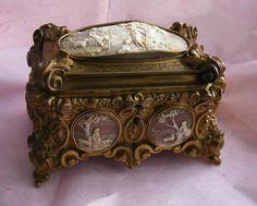 Glass Top Box Antique French Jewelry Casket Kiln-fired Portrait Of St Helen
