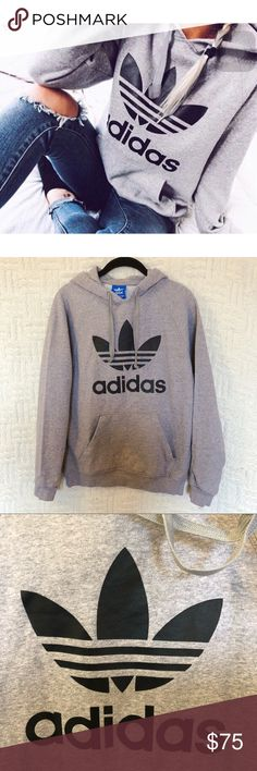 Adidas Originals Trefoil Hoodie Adidas Originals Trefoil 3foil Hoodie gray with black logo.  No size tag but it's a small.  Preowned, in good condition; some piling throughout.  No trades / modeling.  {box32} adidas Tops Sweatshirts & Hoodies