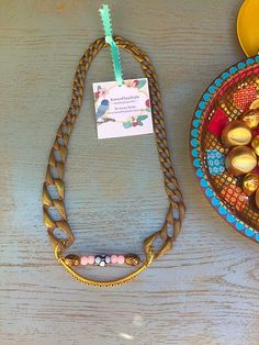 A personal favorite from my Etsy shop https://www.etsy.com/listing/241929348/golden-chic-statement-necklace-handmade