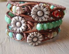 leather wrap bracelet ( Etsy:: http://www.etsy.com/listing/84227693/boho-leather-wrap-bracelet-country-girl# )