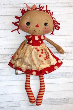 Valentine's Day Annabelle  Primitive Raggedy by HeartstringAnnie
