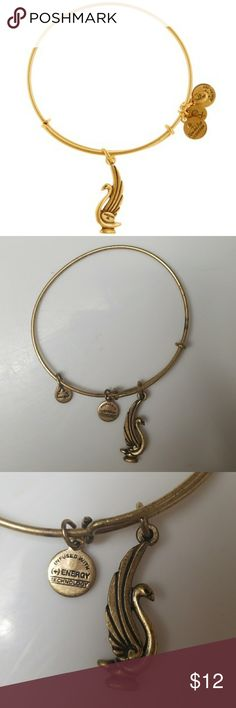 Gold Alex & Ani Swan Bracelet Good condition ...slightly oxidized Alex & Ani Jewelry Bracelets
