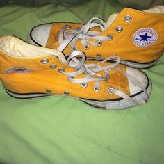 Orange hi top converse Some wear on toes. Could be cleaned. 6/7 could fit Converse Shoes Sneakers