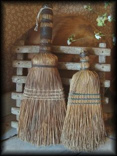 a slat standing leaning w/ 2 whisk brooms* Primitive Antiques, Primitive Decor, Country Primitive, Broom Corn, Witch Broom, Boot Brush, Brooms And Brushes, Whisk Broom, Horse And Buggy