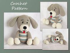 Crochet amigurumi patrón, patrón de ganchillo, Amigurumi Toy, perro, patrón de los animales, el perro Amigurumi