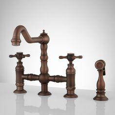 Bellevue Bridge Kitchen Faucet with Brass Sprayer - Lever Handles