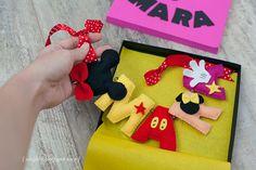 ghirlanda fetru handmade Mickey, ornament nume bebelusi personalizat fetru