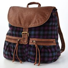 Mudd® Shelly Plaid Backpack (260 BRL) ❤ liked on Polyvore featuring bags, backpacks, vegan messenger bag, vegan leather backpack, courier bag, faux leather backpack and backpack messenger bag