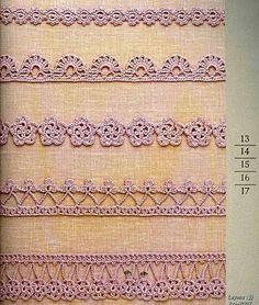 Вязание крючком схемы кайма формы и бланки для всего
