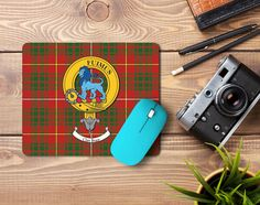Rubber Mousemat with Bruce Family crest  and tartan - only from ScotClans