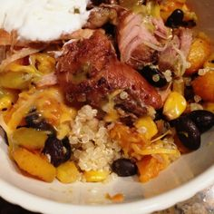 good eats: crockpot pork carnitas over butternut squash, black beans, roasted corn & quinoa