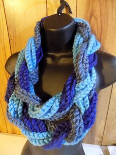 Braided Infinity Scarf  Navy Blue Aqua Steel by TheLittleBarntique