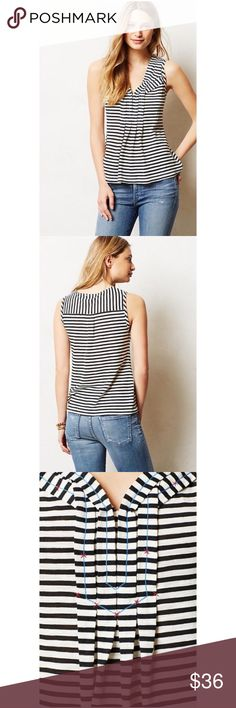 """NWOT Anthropologie Postmark Pippi Tank XS Stripes, pleats and patterns, oh my! This season we're looking to shake it up: try pairing this sleeveless pullover with a solid skirt and printed kicks. Cotton, polyester Machine wash 25""""L Comes from a smoke and pet free home. Item is new without tags and has never been worn.  My prices are firm. No trades or holds. No transactions off of poshmark. Anthropologie Tops Blouses"""