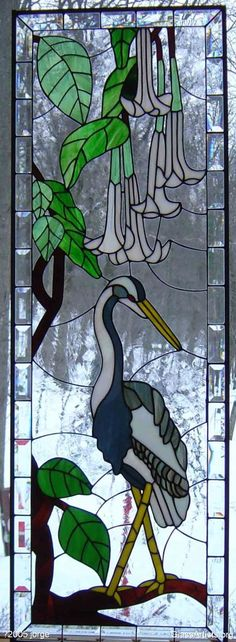 Stained Glass Window - Lone crane in winter