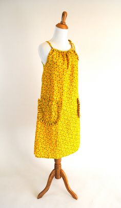 vintage yellow floral dress