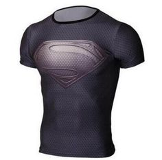 T shirt superman breathable t-shirt men's sports Workout clothes NEW 2015 Captain America Fitness