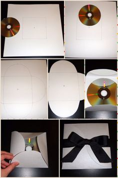 DIY CD Case | Material: 12X12 cardstock, Scissors, Ribbon •Draw a 5x5 inch square in the middle of the piece of cardstock •Mark 2.5 inches out from the center of each side. Align the top of the curve of a CD to each mark and trace a curve from corner to corner •sketch a smooth curve for the petals •Your cardstock will now have four semi circles around the 5x5 inch square •Cut out & use as template •Overlap one side of each edge over the next to close the case •Press down & secure with ribbon